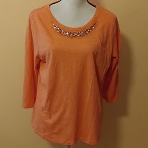 XL salmon colored shirt with beads by St John's ba